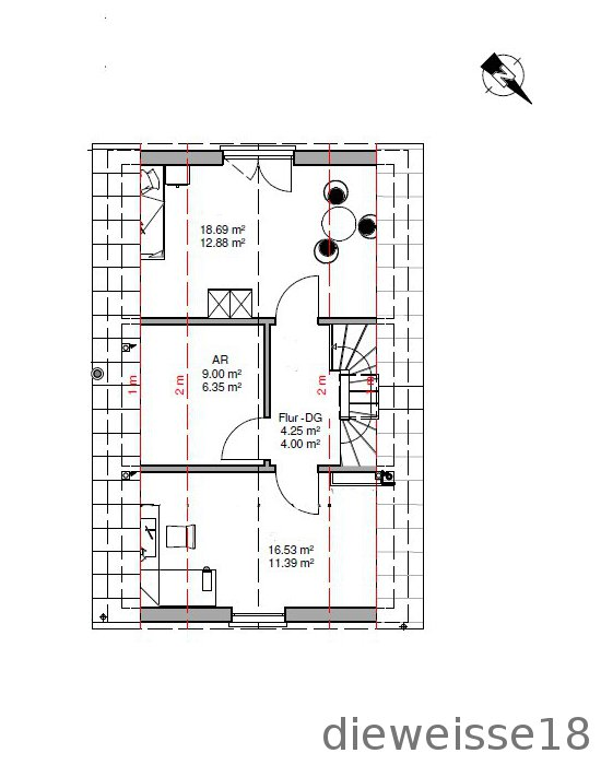 Und das Dachgeschoss, welches KEIN Vollgeschoss ist.
